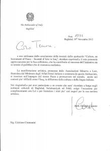 Lettera Cristiano Cremonini Ambassador of Italy