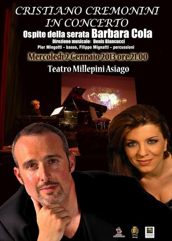 Cristiano Cremonini in concerto ad Asiago il 2 gennaio 2013 con Barbara Cola e Denis Biancucci al pianoforte