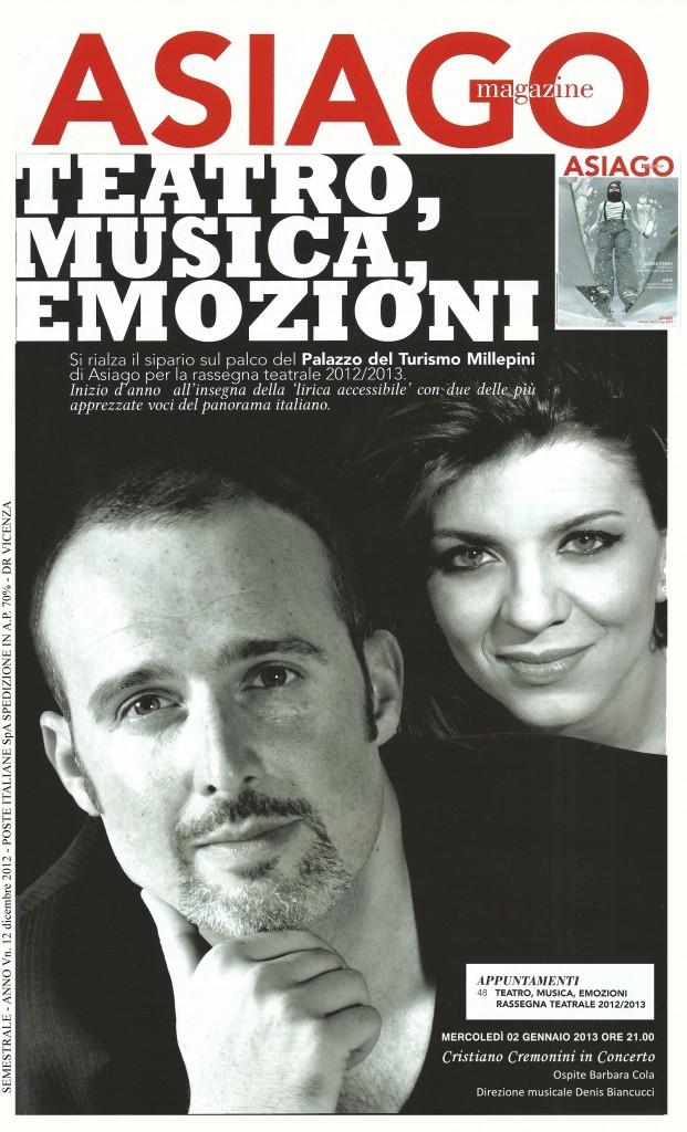 Cristiano Cremonini in concerto ad Asiago con Barbara Cola - Asiago Magazine Rassegna Stampa