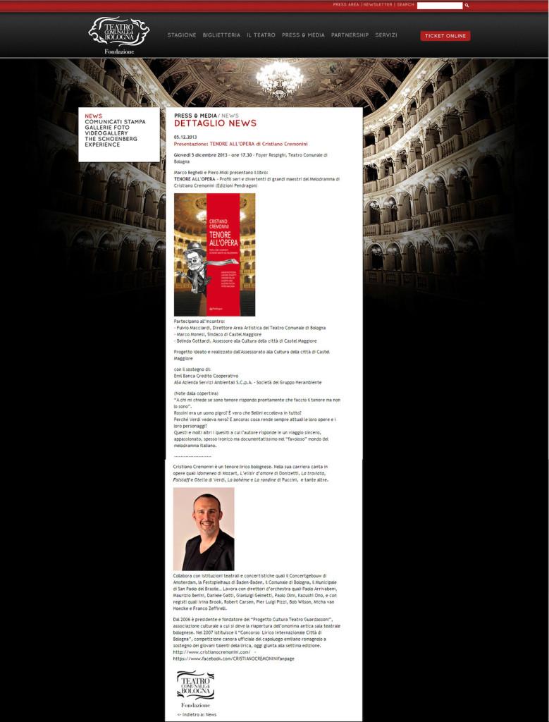 News Tenore all'Opera al Teatro Comunale di Bologna