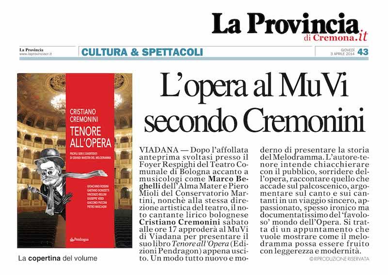 """La Provincia di Cremona """"Tenore all'Opera"""" recensione per MuVi Viadana"""
