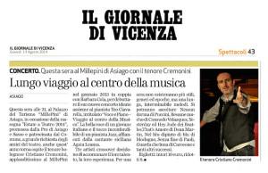 Giornale di Vicenza Asiago 14 Agosto 2014