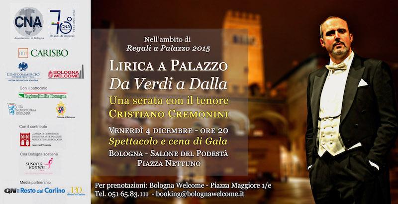 Cristiano Cremonini Tenore ospite di Regali a Palazzo Re Enzo 2015 con CNA