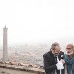 Cristiano assieme al regista Mimmo Verduci sulla Torre Prendiparte