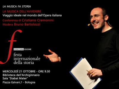 La conferenza del tenore Cremonini alla Festa Internazionale della Storia, Bologna 21 Ottobre 2015 Palazzo dell'Archiginnasio