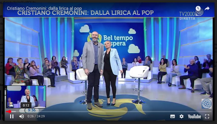 Il tenore Cremonini ospite di Lucia Ascione a Bel Tempo si Spera TV2000
